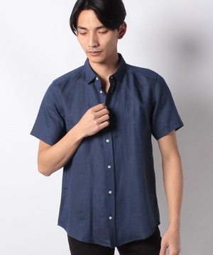 半袖レギュラーカラーリネンシャツ