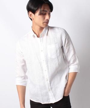 七分袖レギュラーカラーリネンシャツ
