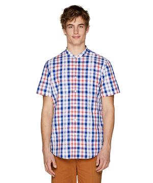 チェック柄バンドカラー半袖シャツ