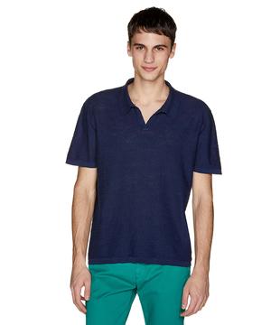 コットンリネンスラブニットポロシャツ