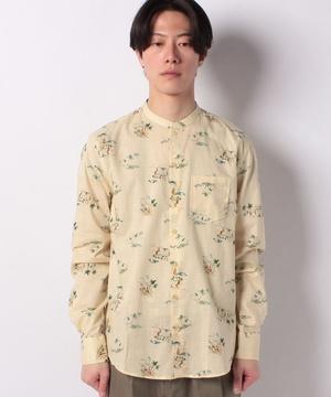 総柄長袖バンドカラーシャツ
