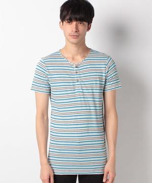 リネン混ヘンリーネック半袖Tシャツ・カットソー