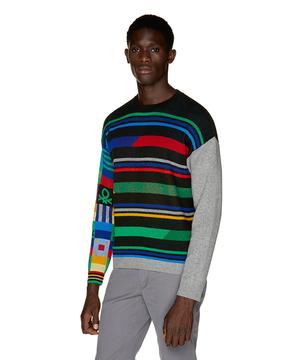 マルチカラーブロックニット・セーター