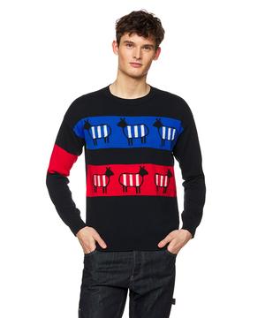 インターシャシープボーダーニット・セーター
