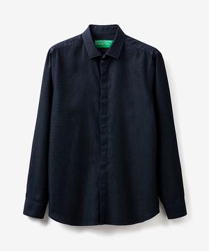 ドビー織り柄フライフロント比翼長袖シャツ