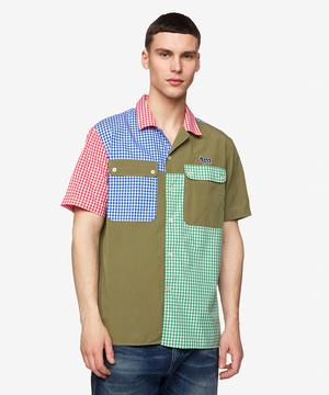 パターンチェックオープンカラーシャツ