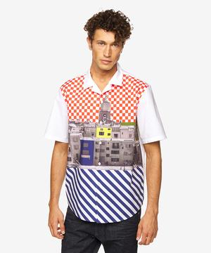 フォトプリントオープンカラー半袖シャツ