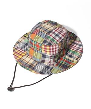 UV加工パッチワーク風ひも付きサーフハット・帽子