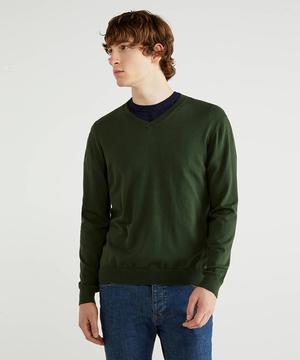 ストレッチコットンVネックニット・セーター