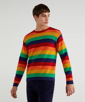ウールマルチボーダーニット・セーター