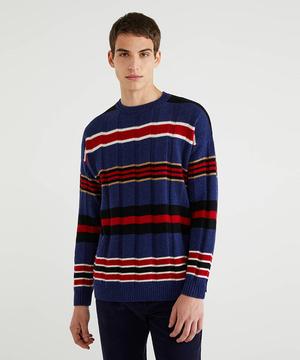 マルチボーダーリブニット・セーター