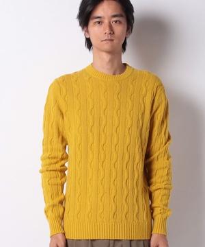 ウールケーブルクルーネックニット・セーター