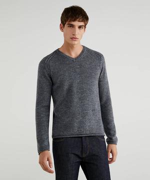 ウール混Vネックニット・セーター