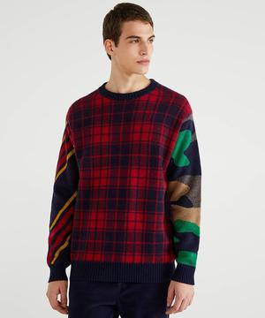 柄切り替えニット・セーター