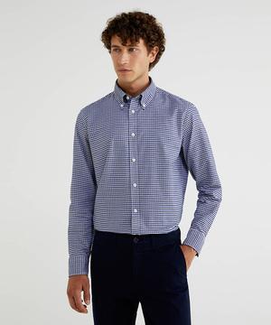 オックスチェックレギュラーボタンダウンシャツ
