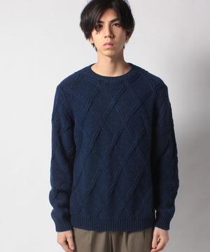 ダイヤ柄編み地クルーネックニット・セーター