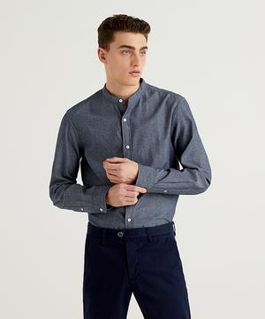 スリムフィットシャンブレーバンドカラーシャツ
