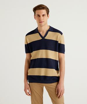 スキッパー半袖ニットポロシャツ