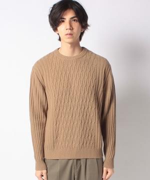 ウール柄編みクルーネックニット・セーター
