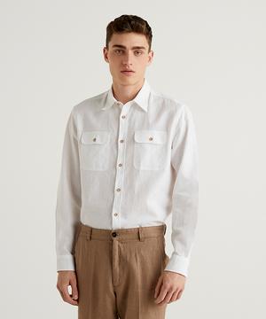 フラップポケットリネンシャツ