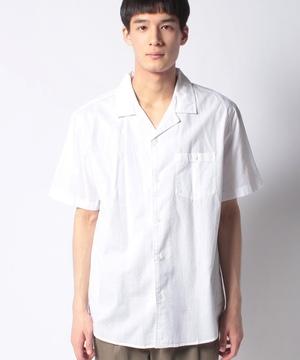 コットン半袖オープンカラーシャツ