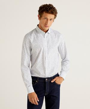 コットン総柄長袖シャツ