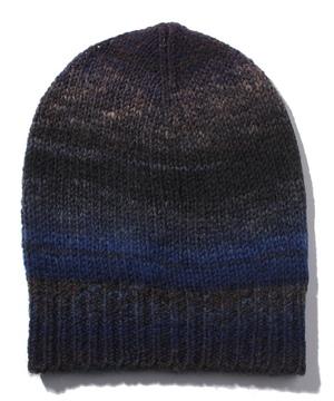 ウール混グラデーション配色ニット帽・ワッチキャップ