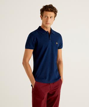 インディゴ染めスリムフィット半袖ポロシャツ