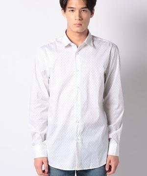 ストレッチ総柄プリント長袖シャツ