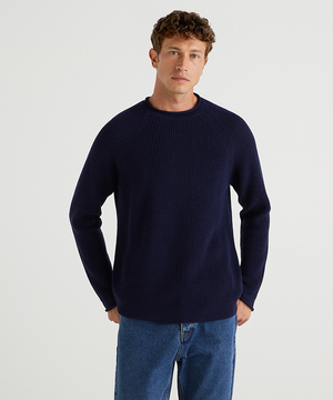 ウールラグランラウンドネックニット・セーター