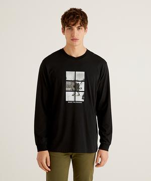 フロントプリントラウンドネック長袖Tシャツ・カットソー