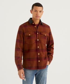ウール混チェックシャツジャケット