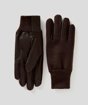 ウール混切り替えレザーグローブ・手袋