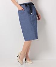 リボン付ストレッチタイトスカート