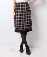 裾レースチェックタイトスカート