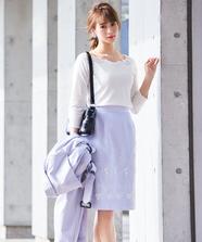裾3D刺繍タイトスカート