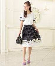Ladyドットフラワースカート