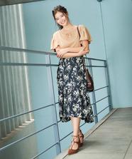 ティアード花柄スカート