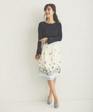 裾フラワーボーダースカート