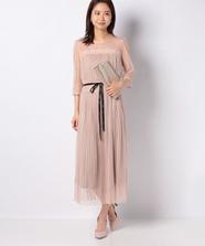 チュールストライプドレス
