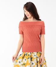 柄編みオフショルプルオーバー