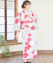 【オリジナル】ストライプフラワー浴衣3点Set