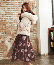 FOXファー衿フード中綿コート