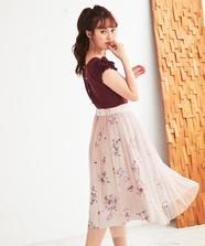 【Laisse Passe Room限定】プリント×チュールプリーツスカート
