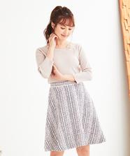 【LUMINE EST×WEB限定】ツイードフレアースカート