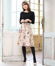 ニットプルオーバー水彩スカートSet