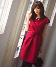 フロントリボンタイトドレス