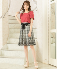 【セットアップ対応商品】ギンガムチェック刺繍スカート