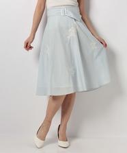 刺繍入りストライプフレアースカート