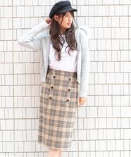 トレンチチェックタイトスカート